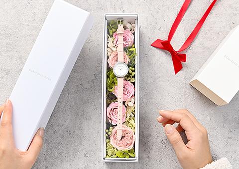 花と時計のプレゼントセット