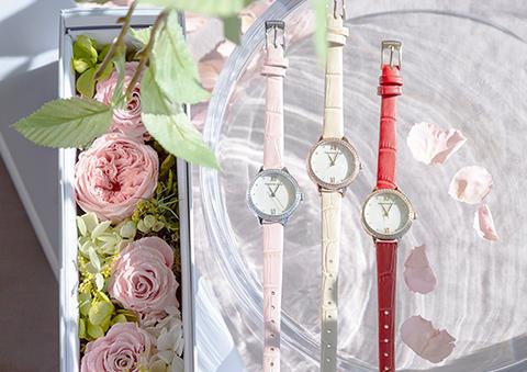 花と時計の組み合わせ